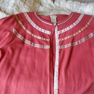 Anthropologie Odille salmon-colored cardigan